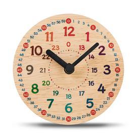 image-Analog Rubberwood Solid Wood Quartz Tabletop Clock in Yellow