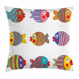 image-Garmund Funny Folkloric Fish Family Outdoor Cushion Cover Ebern Designs Size: 40cm H x 40cm W
