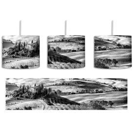 image-Italian Tuscan Landscape 1 Light Drum Pendant East Urban Home Shade Colour: Black/White