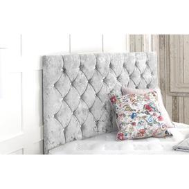 image-Crushed Upholstered Headboard Willa Arlo Interiors Size: Double (4'6), Upholstery: Silver