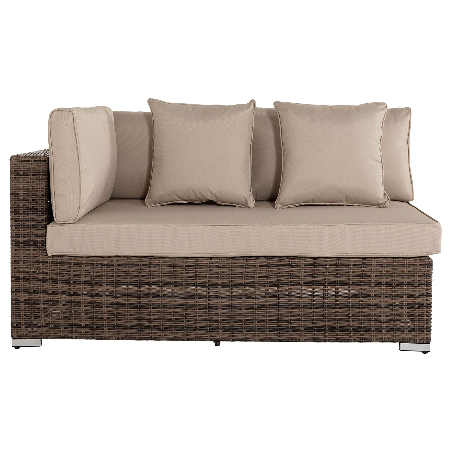 image-Monaco Rectangular Right As You Sit Rattan Garden Sofa in Premium Truffle Brown & Champagne - Premium Weave