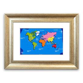 image-'World Map for Kids' Framed Graphic Art East Urban Home Size: 50 cm H x 70 cm W, Frame Options: Silver