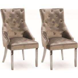 image-Vida Living Belvedere Champagne Velvet Knockerback Dining Chair Pair