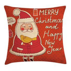 image-Tiago Christmas Santa and Bird Outdoor Cushion Cover Ebern Designs Size: 45cm H x 45cm W