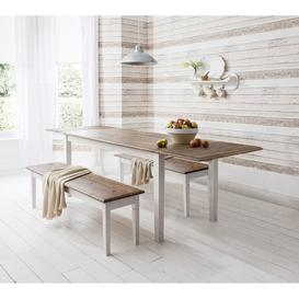 image-Canterbury Dining Table, 2 Benches and 2 Extensions in White & Pin