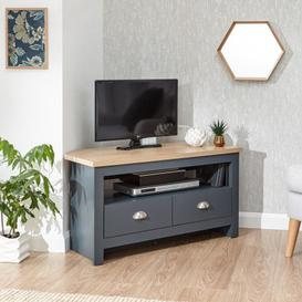 image-Valencia Wooden 2 Drawers Corner TV Stand In Slate Blue And Oak