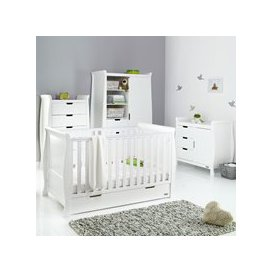 image-Obaby Stamford Sleigh Cot Bed 4 Piece Nursery Furniture Set - White