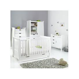 image-Obaby Stamford Sleigh Cot Bed 4 Piece Nursery Furniture Set - White