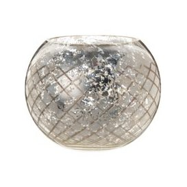 image-Candle Holder in Aged-Effect Silvery Glass