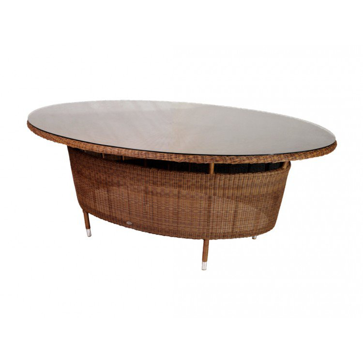 image-Alexander Rose San Marino Round Weave Garden 2m Oval Glass Top Table