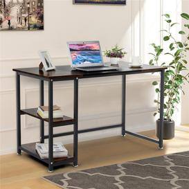 image-Computer Desk, Small Home Office Table With Shelves, Compact Workstation, Modern Style Writing Desk For Work, Study, Gaming 120X60x75cm / Brown+Black