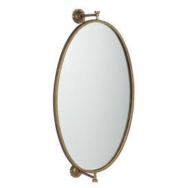 image-Defreitas Hanging Mirror Oval Metal/Glass Gold Borough Wharf