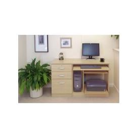 image-Small Office Desk Set With Computer Workstation & 3 Drawers (Beech)