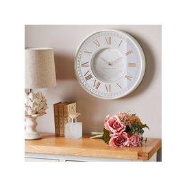 image-Antique Mirror Effect 36cm Wall Clock White Antique Cream