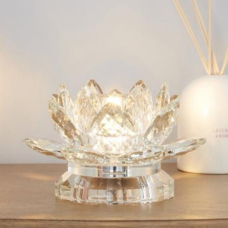 image-Dorma Cassali Lotus Flower Crystal Table Lamp Clear