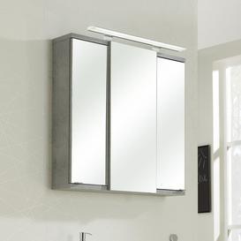 image-Fresh Line Grey 75 x 75cm Mirrored Bathroom Cabinet Quickset