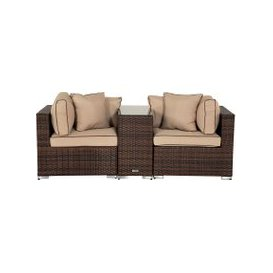 image-Florida Rattan Garden Armed High Bistro Set in Chocolate and Cream