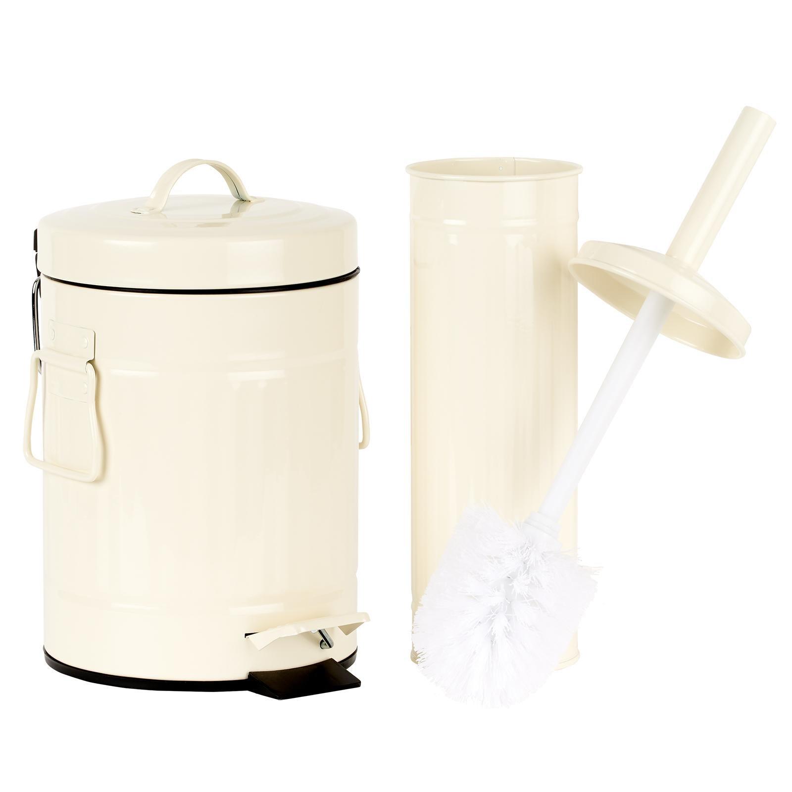 image-Hartleys Retro Metal Cream Pedal Bin & Toilet Brush Set