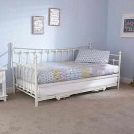 image-Memphis Single Day Bed & Trundle Cream Metal
