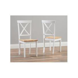 image-Epsom Oak and White Dining Chairs (Pairs)
