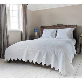 image-Italian White Cotton Quilted Bedspread & Pillow Sham Set - Floral...