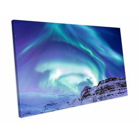 image-'Northern Lights Aurora Iceland Blue Landscape' Photograph on Canvas East Urban Home Size: 100 cm H x 128 cm W