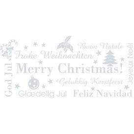 image-Weihnachten, Merry Christmas, God Jul Wall Sticker Happy Larry Colour: Light grey, Size: 30 cm H x 64 cm W