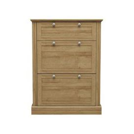 image-Devon Wooden Shoe Storage Cabinet In Oak With 3 Doors