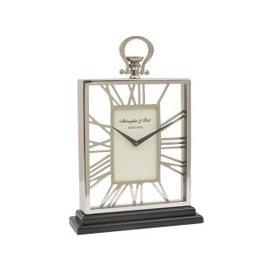 image-Libra Silver And Black Skeletal Mantel Clock