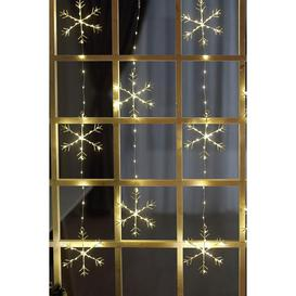 image-Warm White LED Snowflake Curtain Light