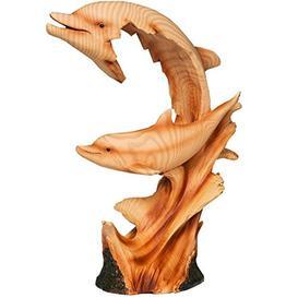 image-Naturecraft Wood Effect Resin Figurine - Dolphin