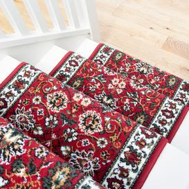 image-Red Traditional Stair Carpet Runner - Cut to Measure