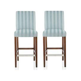 image-Alden Bar Stools In Duck Egg Fabric And Walnut Legs In A Pair
