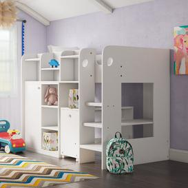 image-Wizard Single High Sleeper Loft Bed with Shelf Isabelle & Max