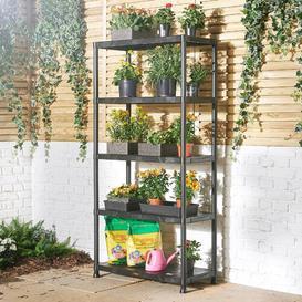 image-VonHaus 5 Tier Garage Shelving  Extra Wide Plastic Racking, Free Standing Shelves  125KG Capacity 25KG per Shelf  174cm H 84cm W 40cm D VonHaus