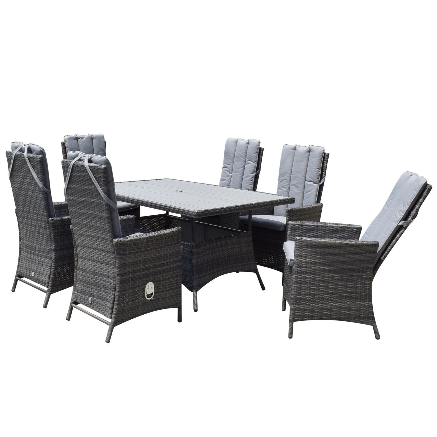 image-Signature Weave Garden Emily Grey 6 Seat Rectangular Reclining Dining Set