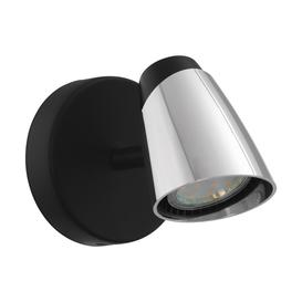 image-Eglo 96715 Moncalvio 1 Light Wall Spotlight In Black And Chrome