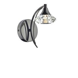 image-Dar LUT0767 Luther Single Switched Crystal Wall Light - Black Chrome