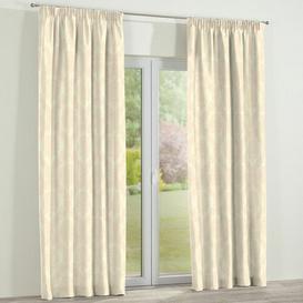 image-Damascus Pencil Pleat Single Curtain Dekoria Size per Panel: 130 W x 260 D cm, Colour: Pale Yellow