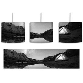 image-Camping Under the Stars 1-Light Drum Pendant East Urban Home Shade colour: Black/White