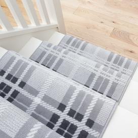 image-Grey Tartan Print Stair Carpet Runner - Cut to Measure