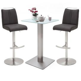 image-Soho Glass Bar Table With 2 Giulia Anthracite Leather Stools