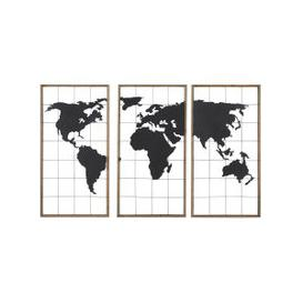 image-Black Metal and Fir World Map Triptych 159x102