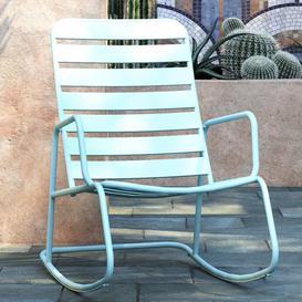image-Novogratz Furniture Roberta Outdoor/Indoor Aqua Haze Metal Rocking Chair
