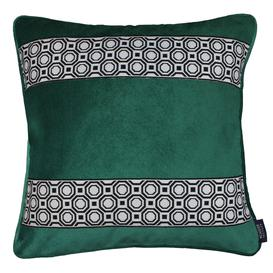 image-Cancun Striped Emerald Green Velvet Cushion, Cover Only / 60cm x 60cm