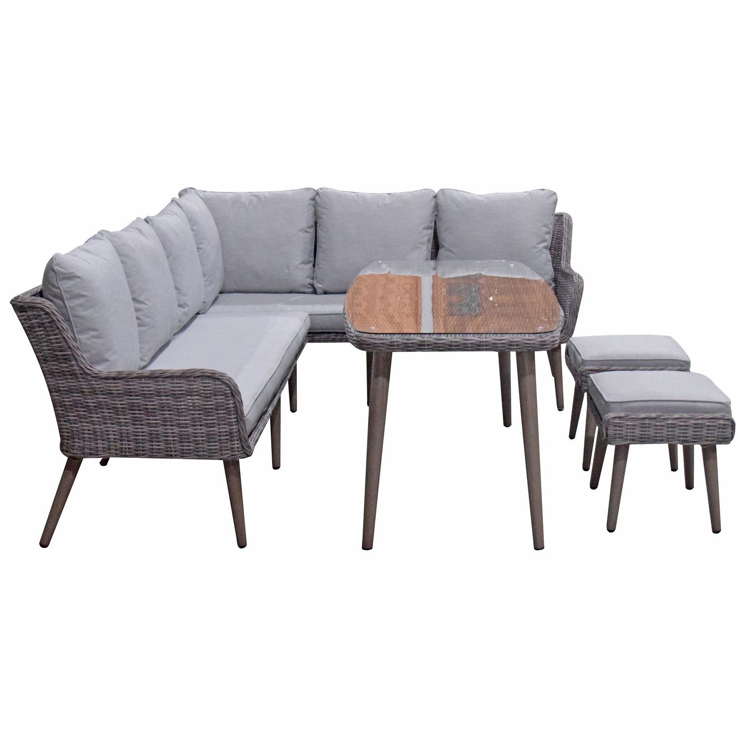 image-Signature Weave Garden Furniture Danielle Corner Dining Sofa Set with Ottomans