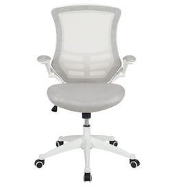 image-Pergande Ergonomic Mesh Desk Chair Blue Elephant Upholstery Colour: Grey, Frame Colour: White