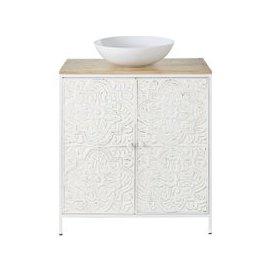 image-White Carved Metal and Mango Wood 2-DoorVanity Unit Kaloa