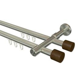 image-Bryon Curtain Pole Set Symple Stuff Finish: Stainless Steel/Walnut Lacquered, Size: 5cm H x 320cm W x 15cm D