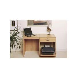 image-Small Office Desk Set With Single Drawer & Printer Shelf (Classic Oak)